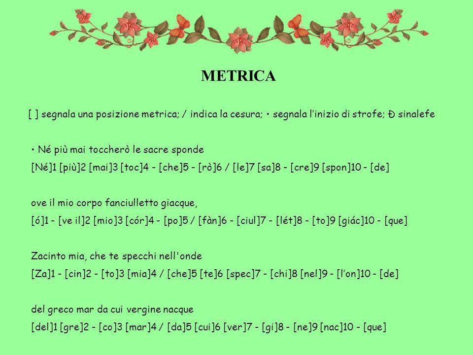 METRICA [ ] segnala una posizione metrica; / indica la cesura; • segnala l'inizio di strofe; Ð sinalefe.